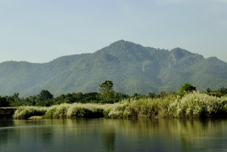 beautiful scenery of a river between Thai and Burma where at Tak