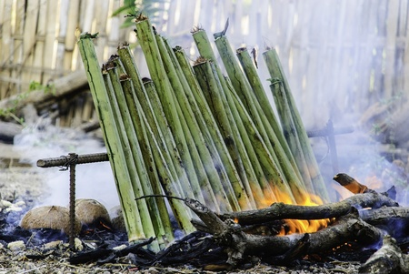 glutinous rice roasted in bamboo dessert kind joints of a Thai