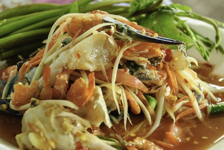 spicy Somtum Thai mix horse crab