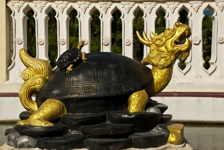 head dragon tortoise  the holy thing of the Chinese and a Thai stay in a temple of Thailand