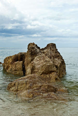 the rock is big , inside beach sea , the tourist attraction of Thailand ,