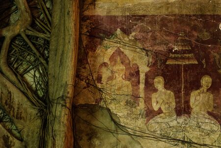 thaiart: art Thai ancient painting with tree root Editorial