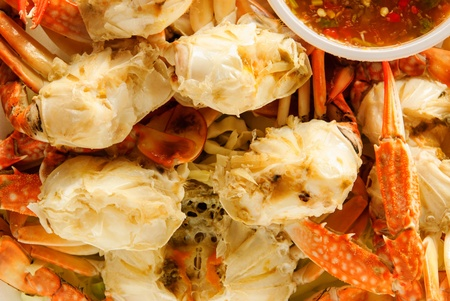seafood crab that a tourist likes to take up room the seaside Stock Photo