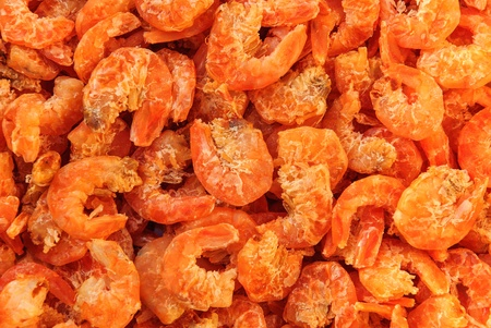 many kind dried shrimp foods of the background