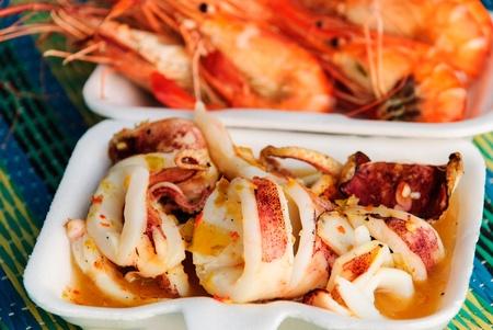 the squid roasts food in the seaside