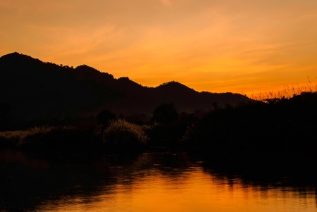 silhouette of nature and mountain in thailand