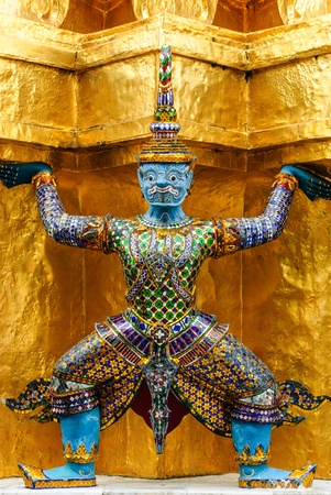 noun: Thai art in beautiful temple has the noun that ,yak , and golden wall