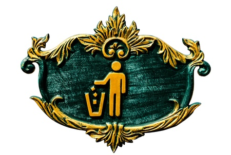 dustbin sign makes metal of thai style and white background