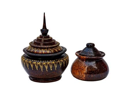 wood art Thai utensils and white background