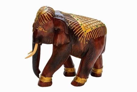 wood elephant carves the art Thai and white background Stock Photo