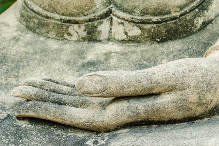 Buddha ancient hand and ancient in the tourist attraction of Thailand Stock Photo