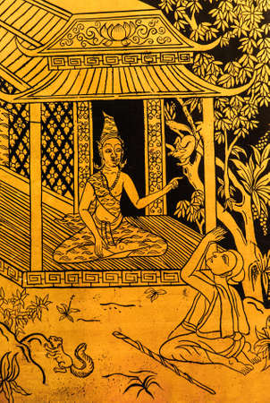 color gold picture the hermit is teaching a student and art Thai work Stock Photo