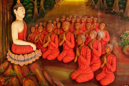 The wall picture Buddha stucco and many student person believe in a person