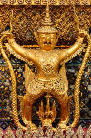 noun: Thai art in beautiful temple has the noun that garuda Stock Photo