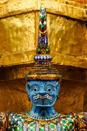 noun: Thai art in beautiful temple has the noun that yak  and golden wall