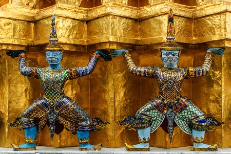 Thai art in beautiful temple has the noun that yak  and golden wall