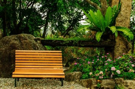 Chair in the empty garden in thailand Stock Photo