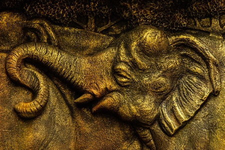 The image  elephant thai made  from brass