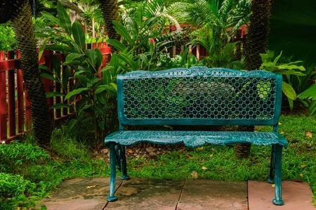The green metal armchair in the garden