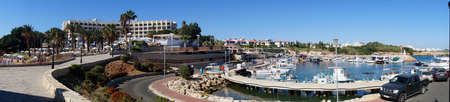 Panorama of the beach and the port of  Golden Coast  district Perner  Cyprus