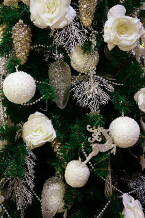 Christmas background of decorated fir photo