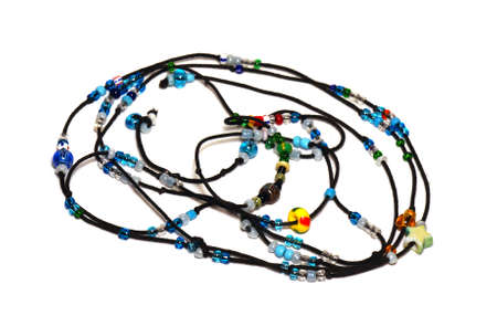 Blue beads on black cord                            photo