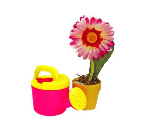 Flor Artificial Rosa En Una Olla De Color Amarillo Y Poder De Riego ...