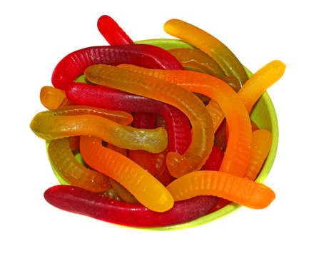 gummie:  Multicolored Chewing marmalade as worms isolated