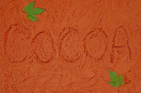 Background of spillage of cocoa powder with the word Cocoa                                photo