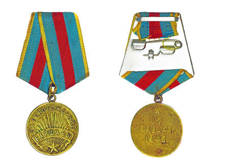 liberation: Medal For the Liberation of Warsaw (with the reverse side) on a white background
