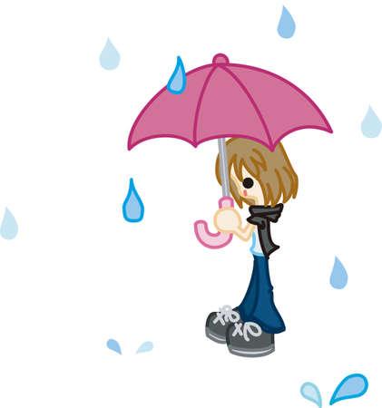 비의 계절 일러스트
