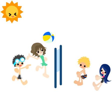 男の子と女の子、ビーチでバレーボールを再生します。
