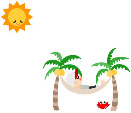 A man is sleeping on the hammock, and Sun is sleeping, too  Vector