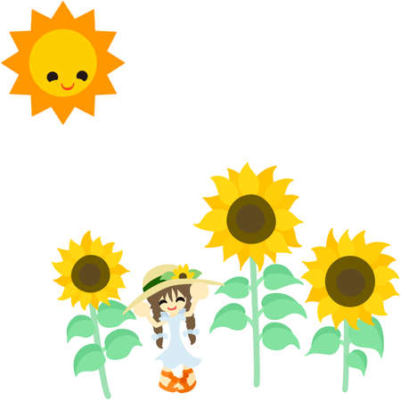 A little girl is surrounded by sunflowers  Vector