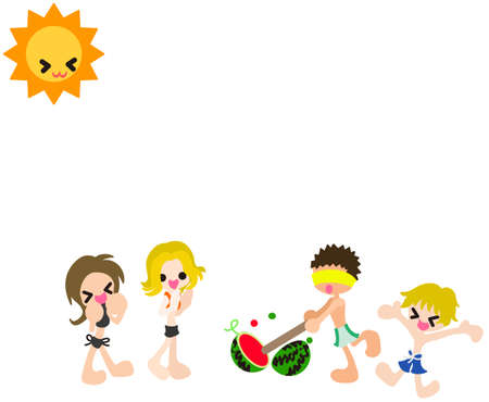 watermelon woman: Boys and girls are playing  watermelon splitting game   A boy succeeds crushing a watermelon