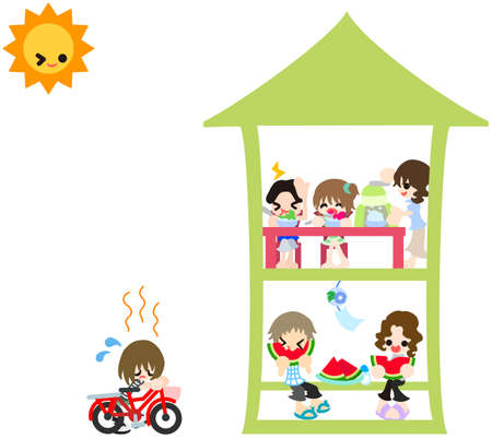 Each person is spending the summer vacation in the house  It is a very very hot day