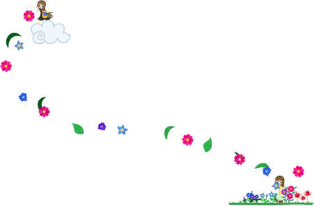 autumn flowers: One girl is sowing autumn flowers on the cloud, and another girl loves them