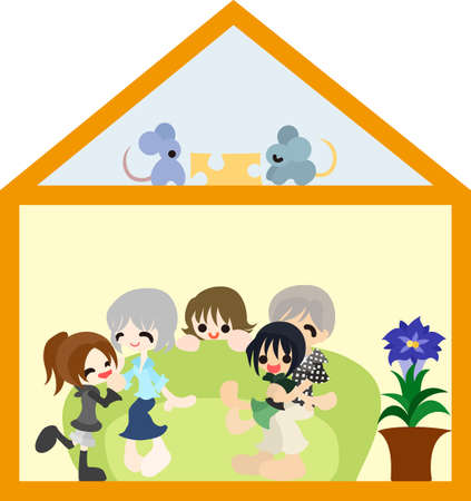 Children and their grand parents are staying a happy holiday  Vector