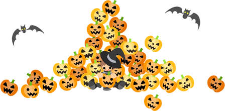 A wizard boy surrounded by a lot of jack-o-lantern Stock Vector - 15224692
