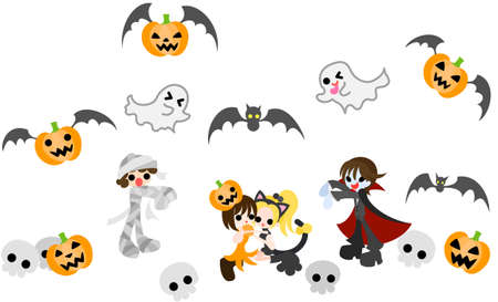 A fairy girl of pumpkin and a cat girl are in pinch by a vampire boy  and a mummy boy  Illustration