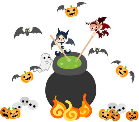 jack pot: Today is Halloween A devil boy and girl is boiling and simmering  medicine mystery  Illustration