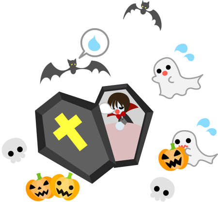 hurrying: Though it is time to wake up soon, a vampire boy is still sleeping  minions ghosts are hurrying him to wake up  Illustration