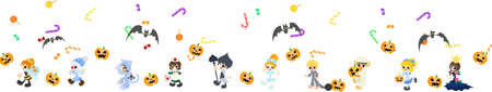 Today is Halloween fun  Children who are walking in costume  Vector