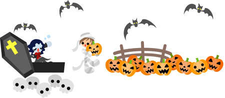 Vampire girl wake up  Mummy boy is busy at the pumpkin Patch Stock Vector - 15224688
