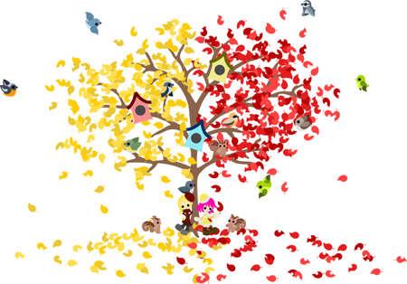 Un árbol de maravilla con las hojas amarillas y hojas rojas Dos niñas están en el crepúsculo