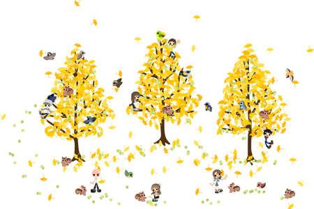 多くのナット Let s と低くかがんだイチョウの木の枝それらをピックアップし、様々 な料理を使用して  イラスト・ベクター素材
