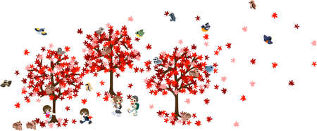 family hiking: On the autumn holiday of beautiful maples, let s go out on a hike with family  Illustration