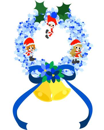 Children disguising as Santa Claus are standing on the blue Christmas wreath Stock Vector - 16112853