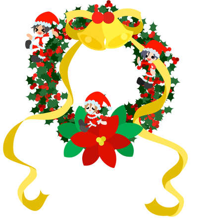 Children disguising as Santa Claus are standing on the green Christmas wreath Stock Vector - 16112859