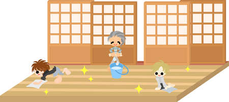 children s art: Today is New Year s Eve  Let s clean the corridor with grandpa  Illustration